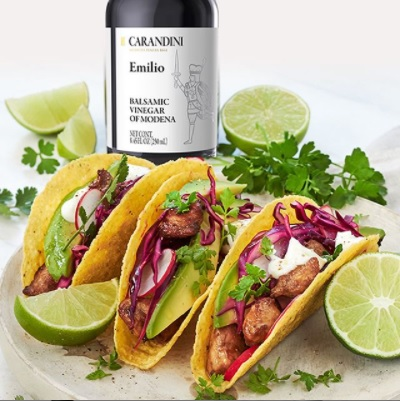 Tacos with Carandini Balsamic Vinegar of Modena chicken and avocado